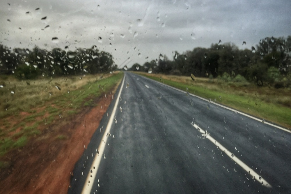 Pictured: Raindrops on the truck windscreen in outback Queensland. A welcome reminder of God's grace.