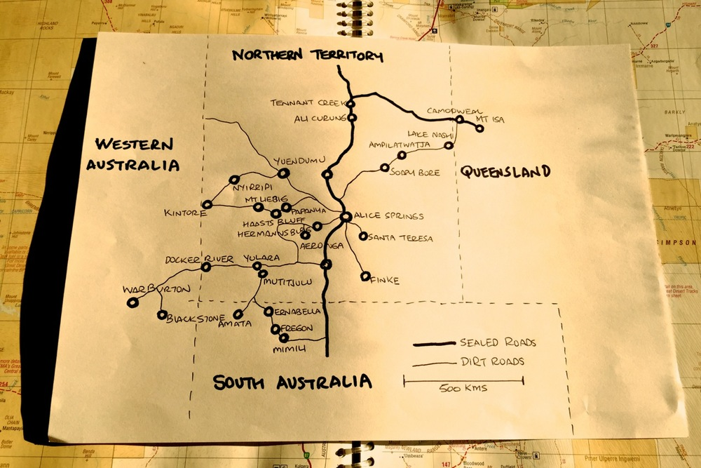 Pictured: The original mud map for reaching remote communities with an invitation to Reality in Alice Springs.