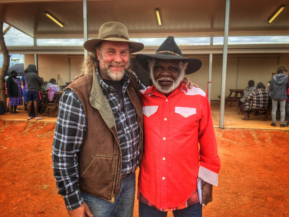 Pictured: Steve with local legend, Johnny Percy from Alpururrulam community on the Sandover Highway, Northern Territory.