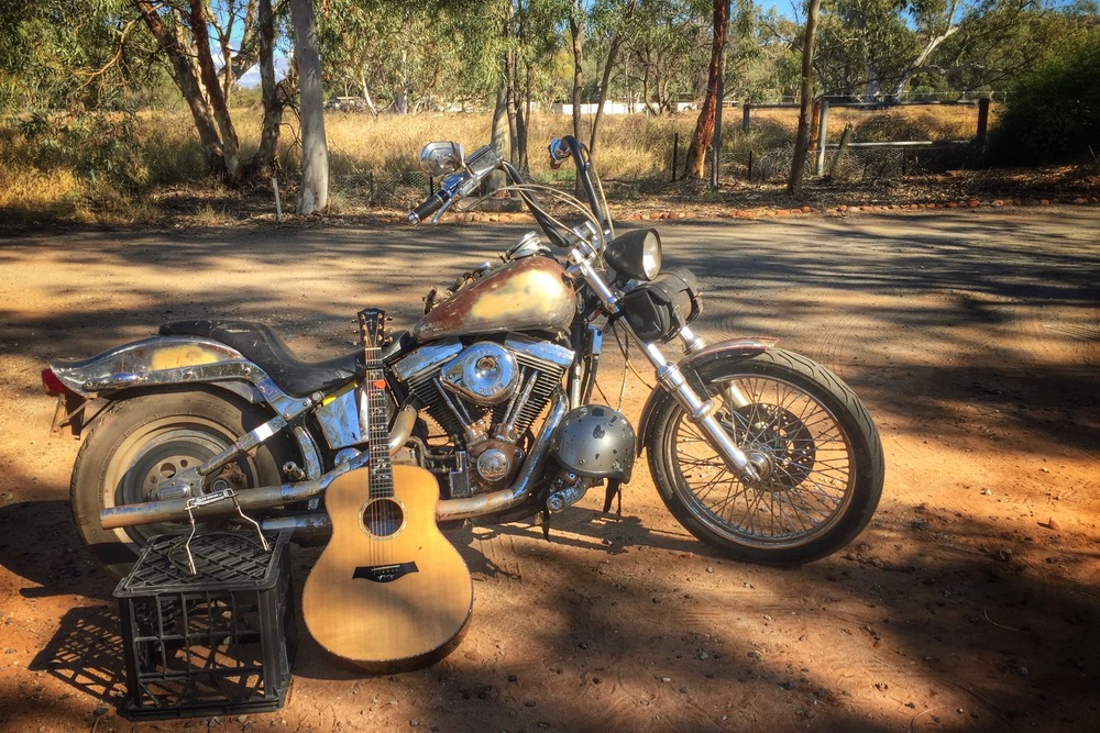 Pictured: The old Harley with Taylor Guitar after a short film shoot.
