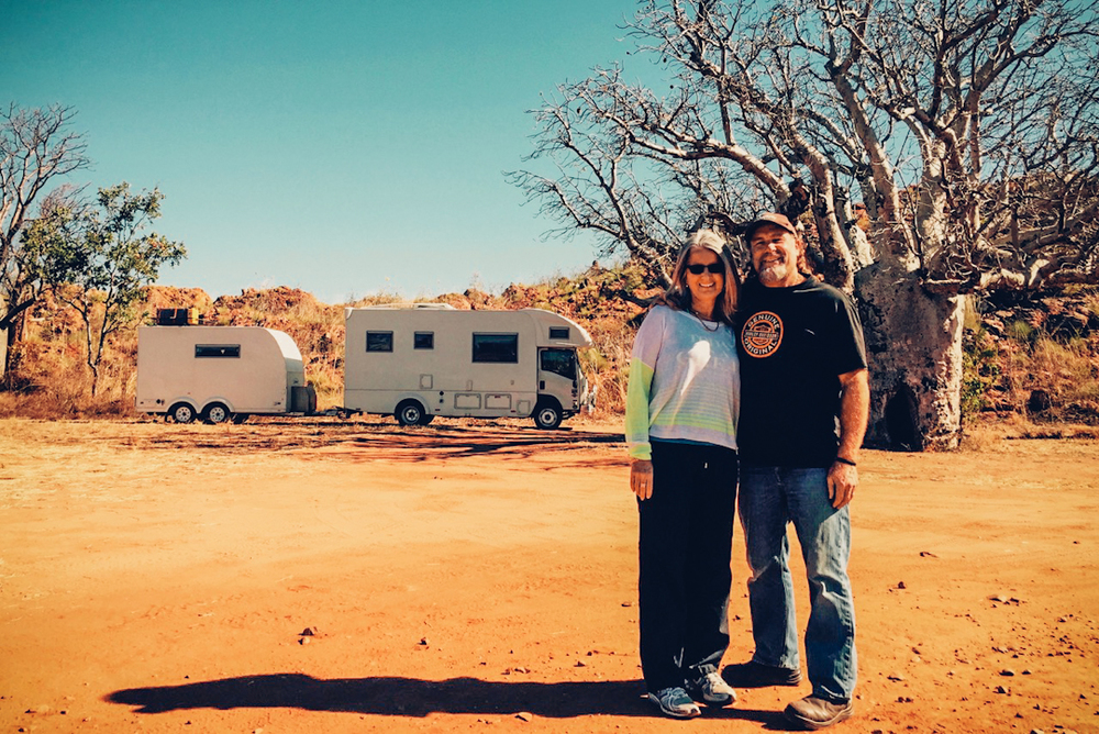 Pictured: Kerrie and me and the beloved motorhome 'Matilda' with a classic Kimberley backdrop.