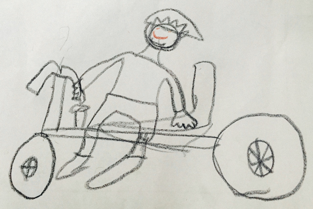 Pictured:  A drawing of Steve Grace on the Crossing Australia Harley.