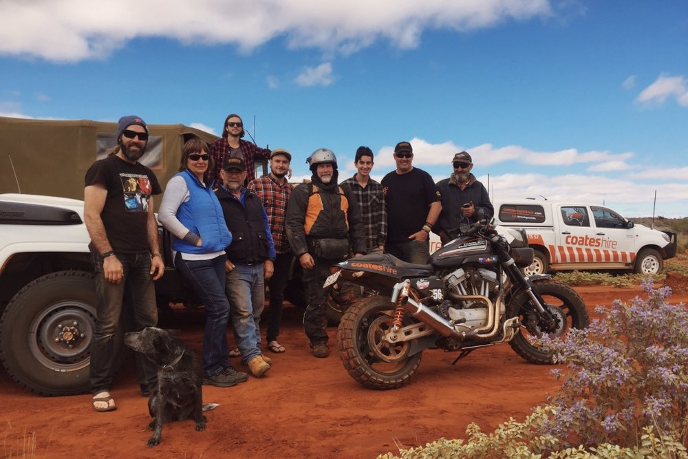 Pictured: The Crossing Australia team somewhere west of Alice Springs near the Papunya community. Photo: Cheyne Grace