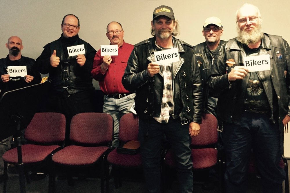Pictured: Some of our biker mates from Black Sheep and God's Squad CMC who came to church last Sunday in Toowoomba.