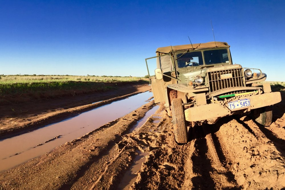 Pictured: Vic Hausler's vintage 1942 Dodge Weapons Carrier on the Old Andado Track north of the Simpson Desert. Pic: Steve Grace