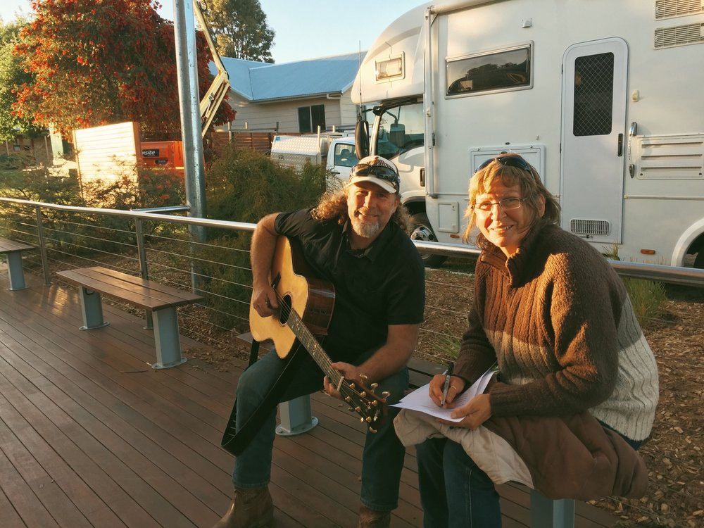 Pictured: Steve with Wendy Robertson working on the final lyrics to the new Wongutha School song before the concert.