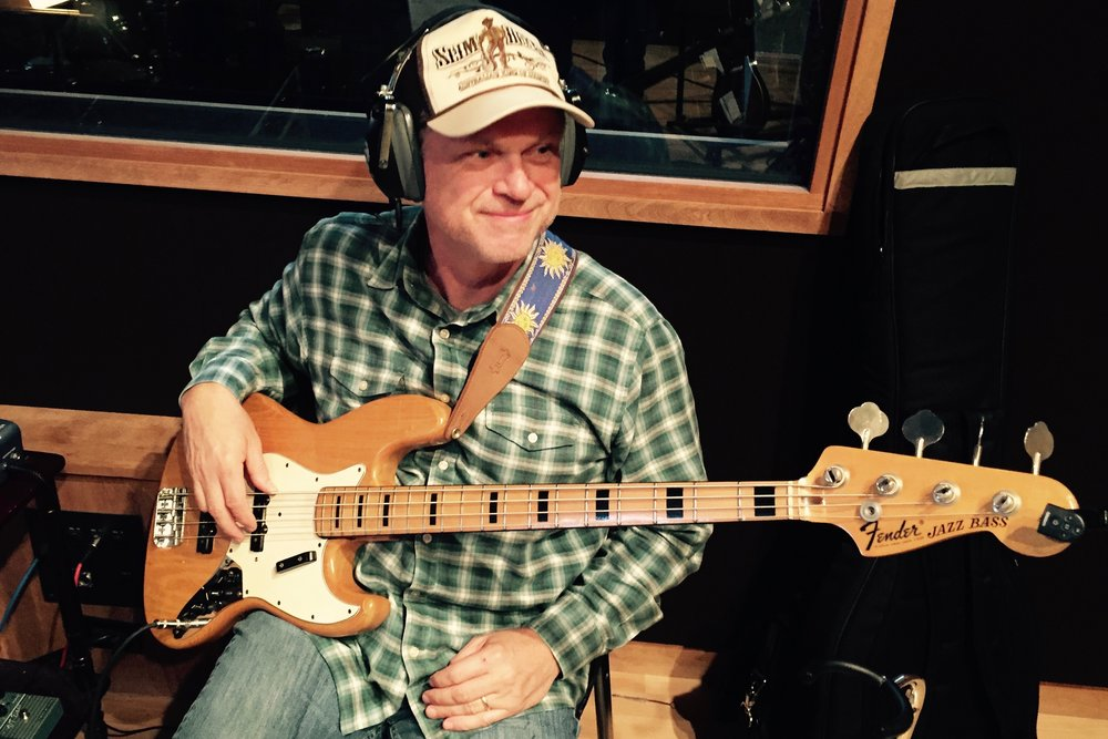 Pictured: Mark Burchfield of Watershed Recording Studios on Fender Bass… with his new Slim Dusty cap!!