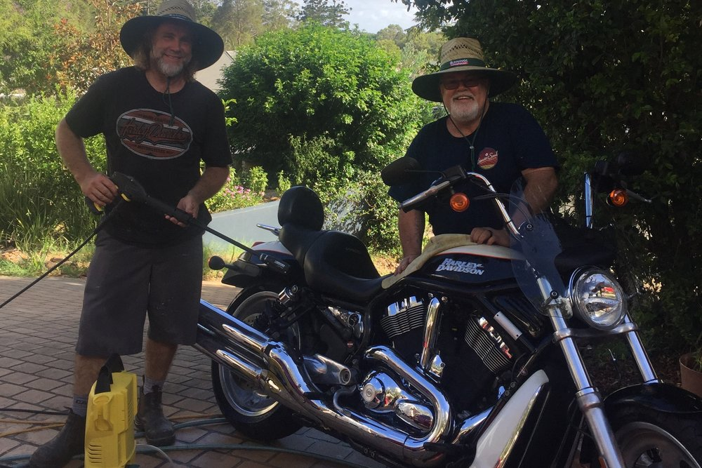 Pictured: Steve with the legendary Chris Foley and his recently painted and polished Harley VRod.