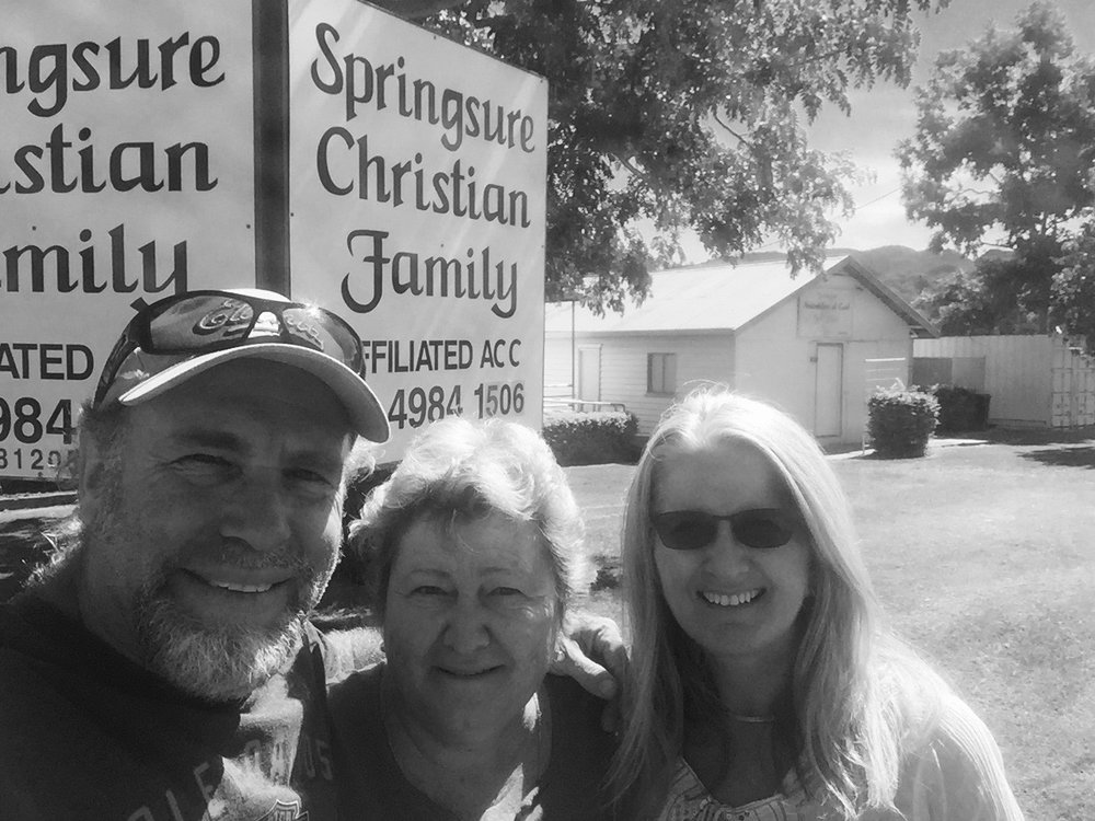 Pictured: Steve and Kerrie with Glenys Ryan who pastors the small country church in Springsure, central Queensland.