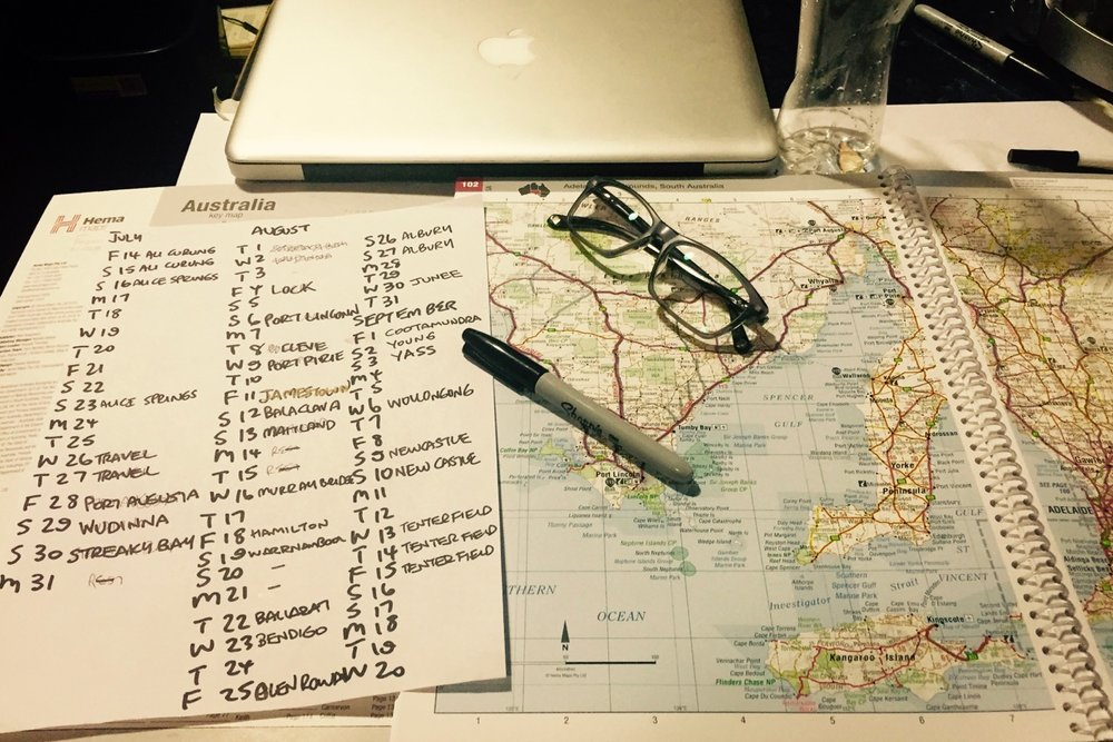 Pictured: The never ending adventure of maps and calendars and ministry tours across Australia..