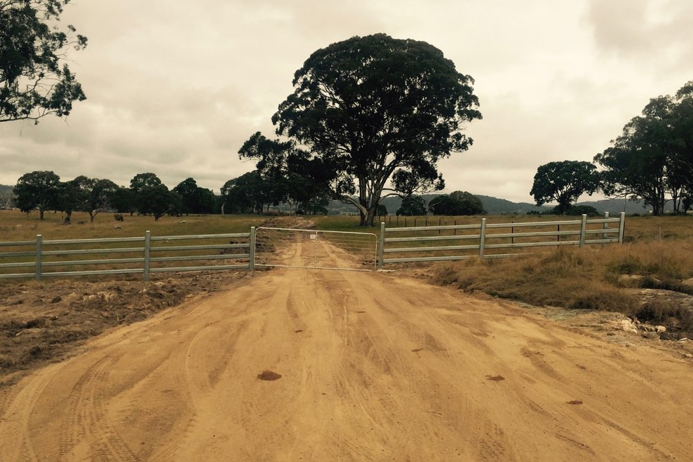 Pictured:  The new entrance to the World Missions property near Tenterfield NSW. With new road under construction