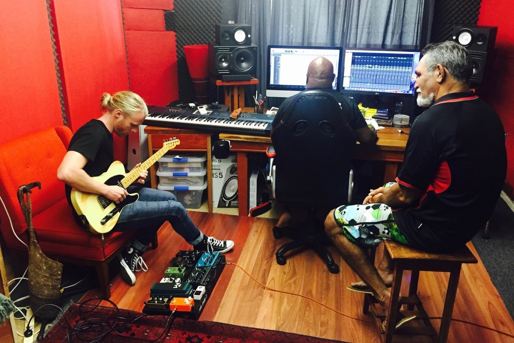 Pictured: Trentan Kruger laying down some classic Fender Telecaster guitar tracks for a new album project for Brian in Ben Hakalitz's studio, Cairns