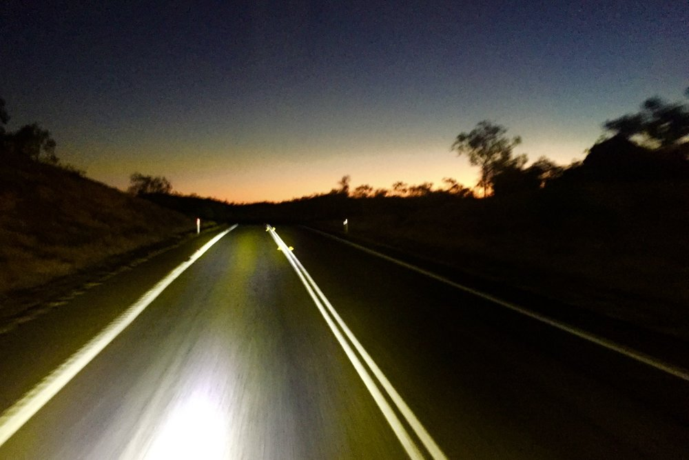 Pictured: Driving into the disappearing sunset of north west Queensland bound for Mt. Isa