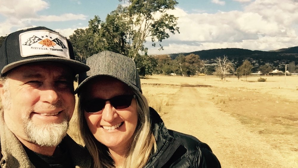 Pictured: Steve and Kerrie and the new road into the future World Missions base in Tenterfield, NSW.