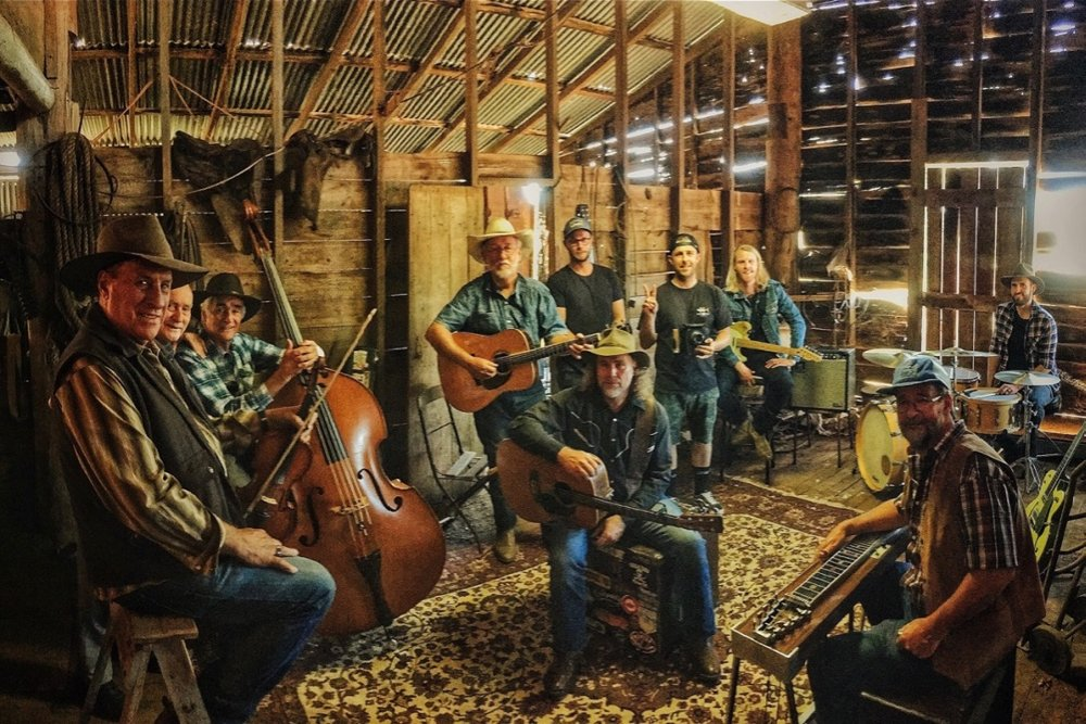 "Pictured: Members of the bluegrass band ""Change of Heart"" with Ced Grace, Steve, Photographer: Josh Cunliffe, Film Maker: Peter John of Epik Films, Trentan Kruger and Drummer: James McLaren, Photo by Cheyne Grace"