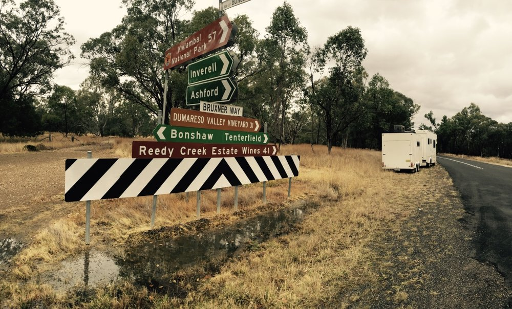 Pictured:A roadsign in the rain on a road less travelled.. somewhere in Northern NSW.
