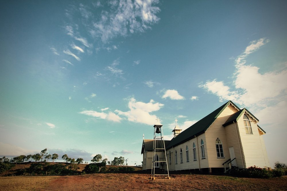 Pictured: The historic Catholic Church overlooking the remnants of the former gold mining boom town of Ravenswood, North QLD.