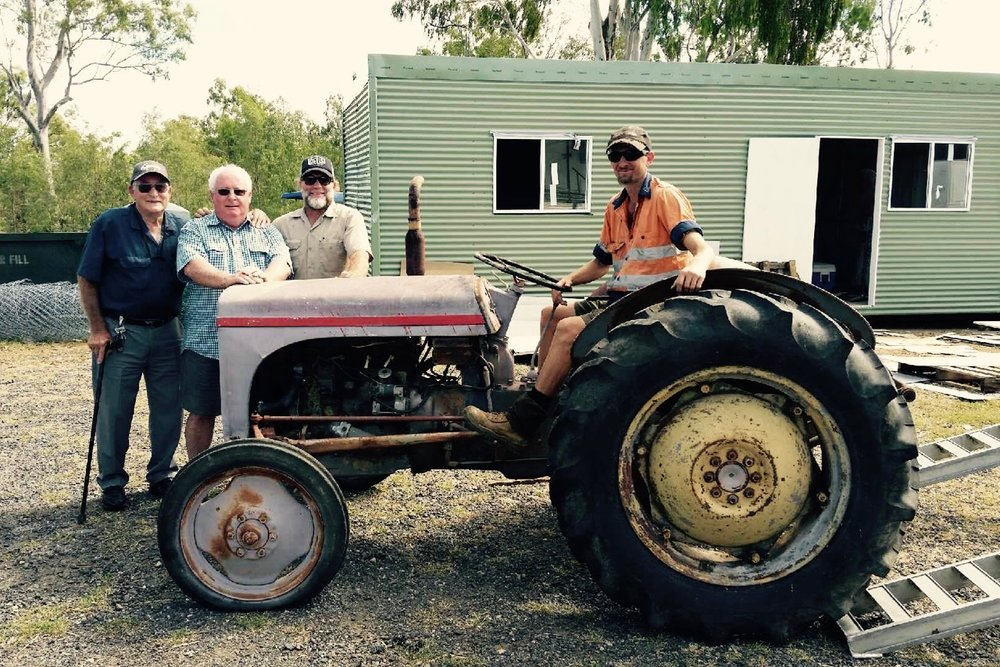 The Furguson TE20 Tractor donated for the future missions base in Tenterfield. Ced Grace with John Doeke, Steve and Dave the tractor mechanic.
