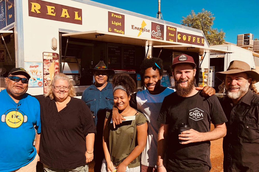 Pictured: Michael and Noleen Mongoo and the team at the best roadside cafe in Meekatharra, Western Australia