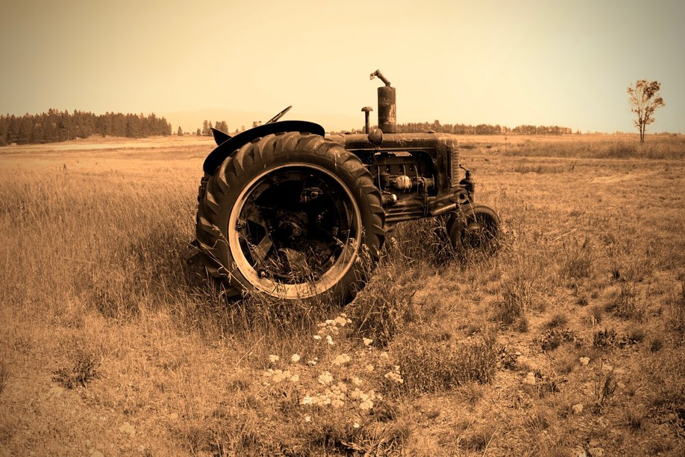 Pictured: A vintage tractor near Kalispell, Montana.