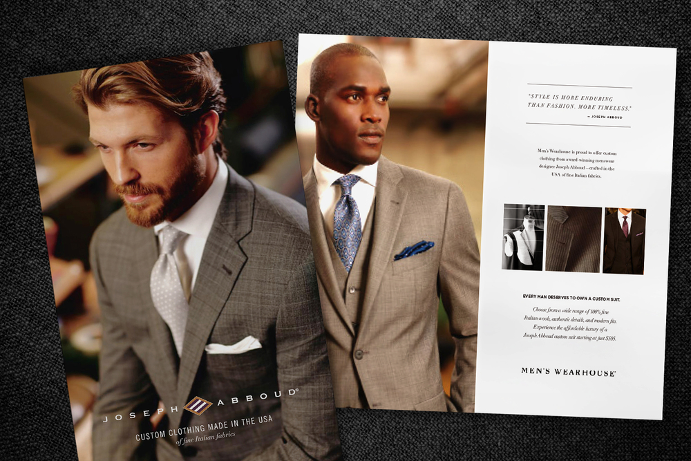 Men's Wearhouse Self-Mailer Our mailers for Joseph Abboud's custom suit launch in San Francisco and New York were tested and tailored for the perfect fit (and effect)