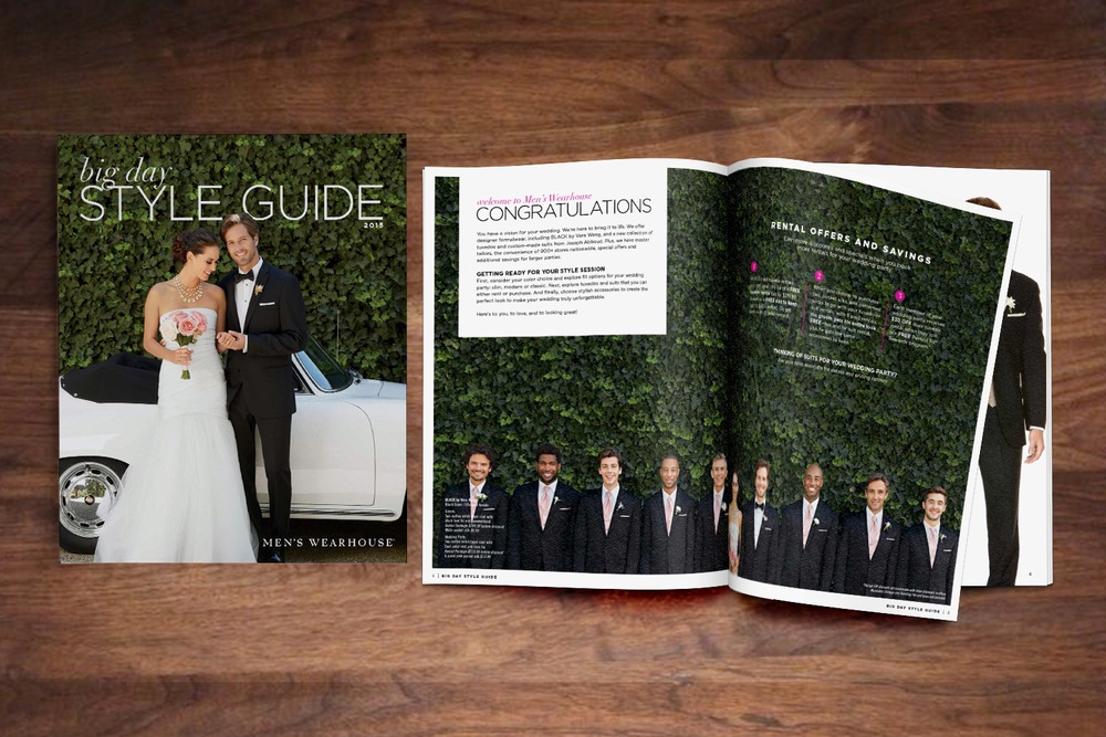 "Men's Wearhouse Catalog  We prefer the term ""direct response fashion magazine,"" but either way, this piece showcased everything grooms & groomsmen need to look their best"