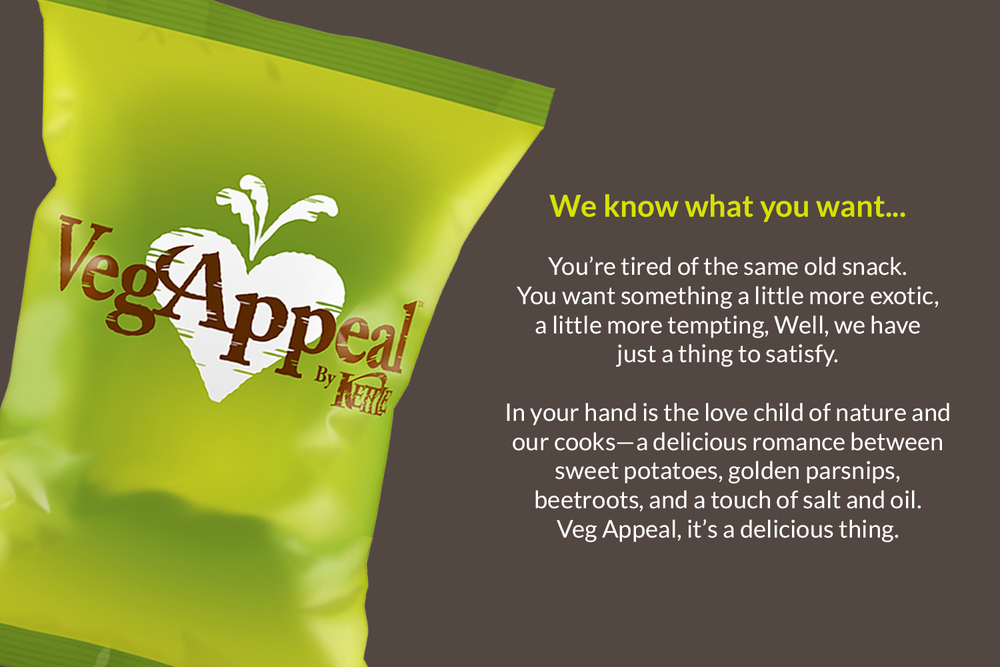 Kettle Chips Testing  :  Our rapid development process enabled Kettle Chips to test names, logo design, and product copy for the launch of its vegetable chips