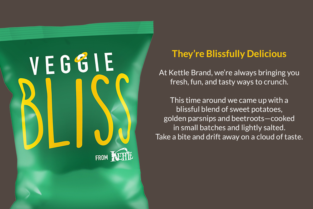 Kettle Chips Testing:  Naming for Kettle Chips vegetable chips included whimsical options like Veg Appeal, Veggie Bliss, and Veg Head