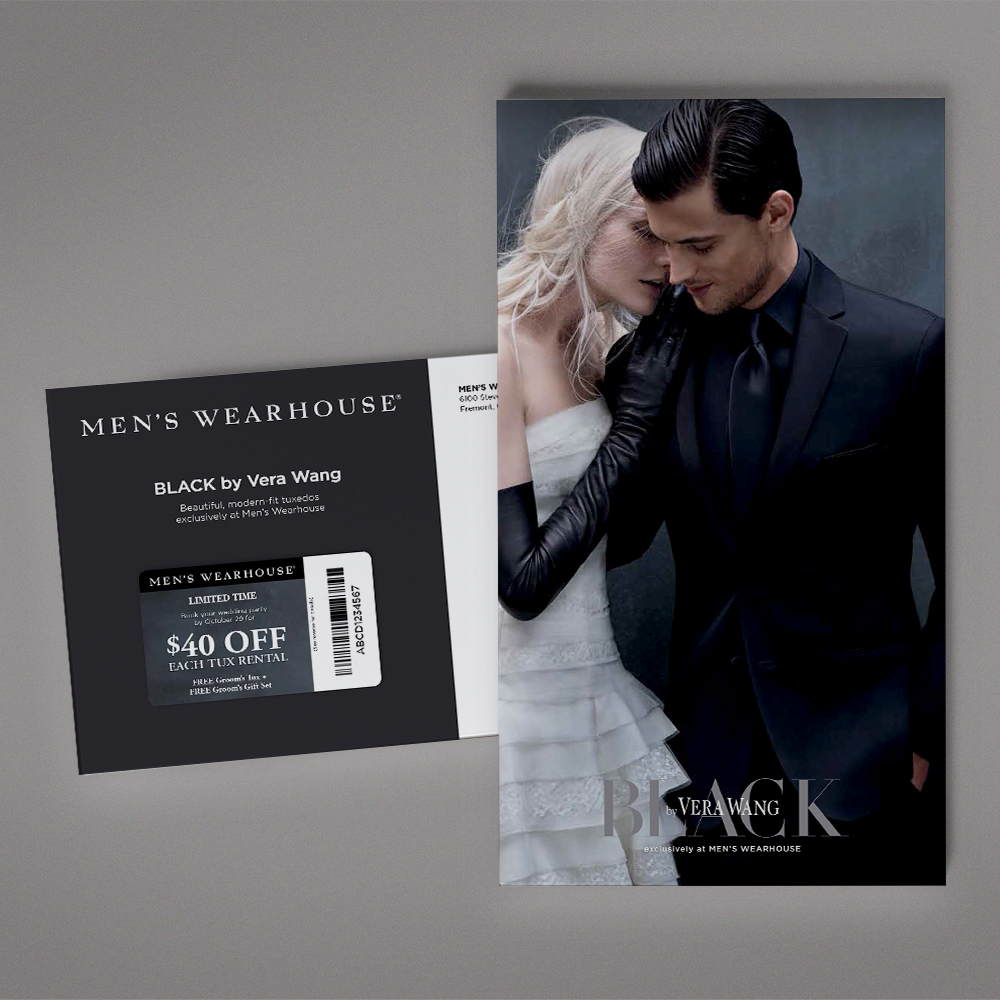 Men's Wearhouse Direct Mail:  When it's BLACK by Vera Wang, it better be good—and this elegant direct mail program targeting engaged couples delivered with style