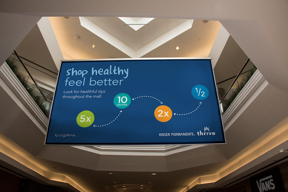 "Kaiser Permanente Awareness Promo: ""Shop healthy, feel better"" was the thrust of this award-finalist in-mall campaign, encouraging shoppers to try a series of fun exercises"
