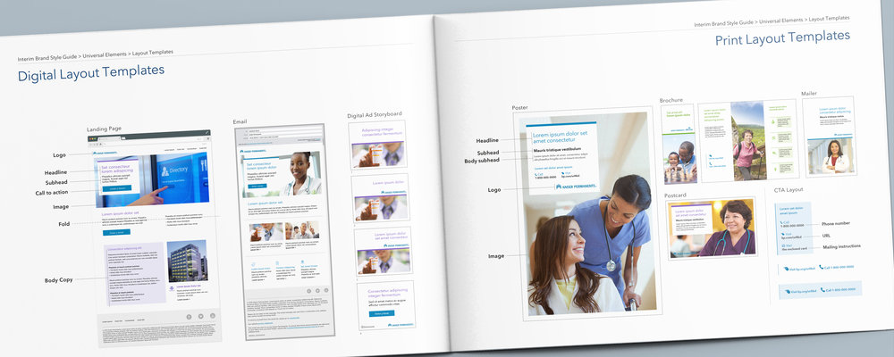 Kaiser Permanente Brand Templates:  We developed 80+ unique print and digital templates for promotional and informational communications—improving brand consistency and time-to-market