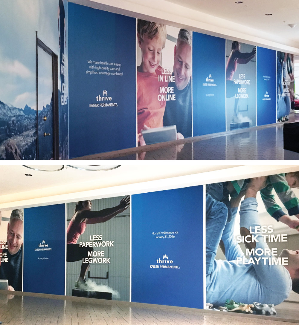 Kaiser Permanente Retail Promo:  Cutting through the clutter: These award-winning, large-scale mall advertisements educated Colorado shoppers on benefits of the brand's offering by using active, health-oriented images in an unexpected environment