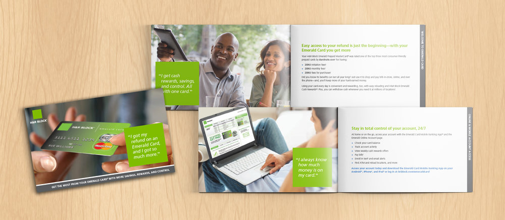 H&R Block Brochure: What's the best way to gain share of wallet? Make sure new cardholders understand all the unique benefits their card offers out of the gate—and that's exactly what this brochure did