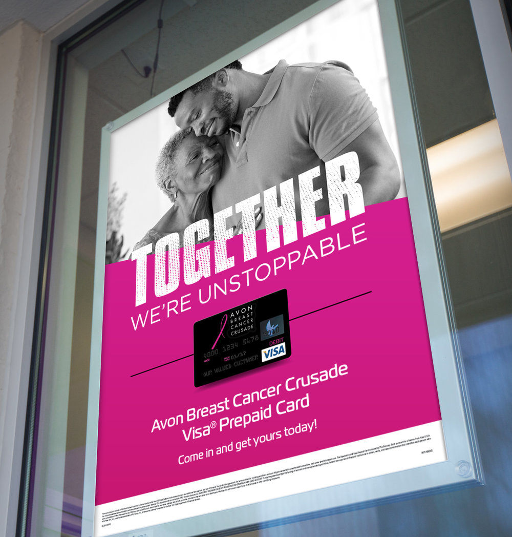 """PLS In-Store Signage:  With headlines such as, """"Together We Can Take a Swipe at Cancer,"""" our promotion for the PLS Avon Prepaid Visa Card helped inspire thousands of PLS customers to join the fight to end breast cancer"""