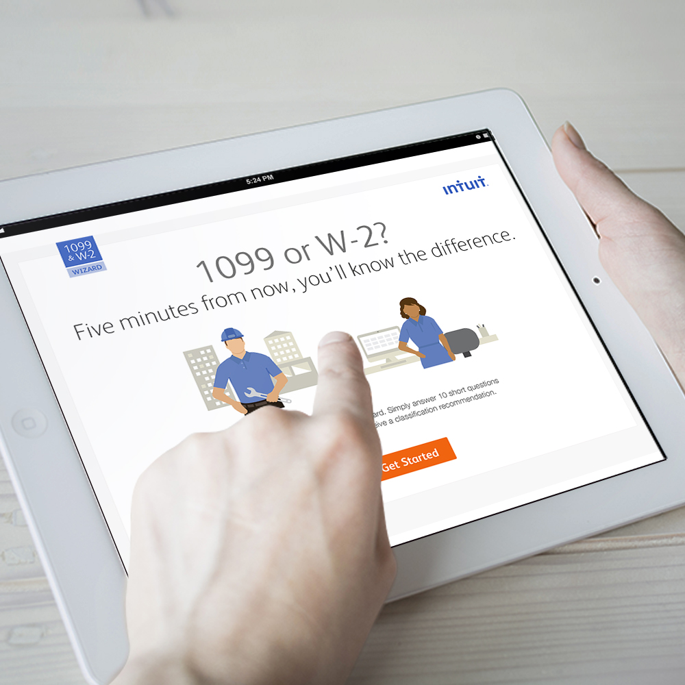 Intuit 1099 & W-2 Wizard:  Designed to boost brand affinity & product trial, this wizard stands as the most organically-visited page on the brand's small biz website