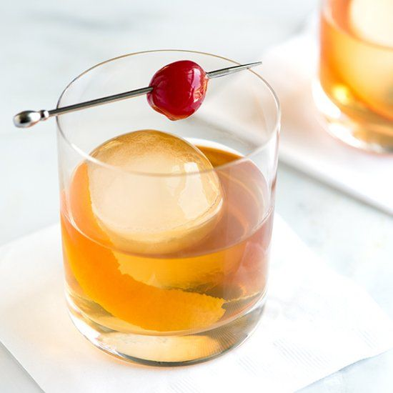 Old Fashioned: Sugar, Bitters, Bourbon, Orange Peel, Ice, Cherry