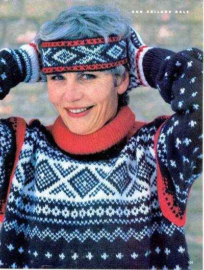 Unn Søiland, here photographed in the 90's, where she is wearing the Slalom design which is often mistaken for the Marius pattern.