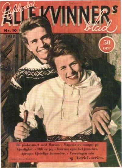 "Here is Marius Eriksen photographed again in one of Unn Søiland's designs, and this time with his wife Bente in an article about ""after ski"" fashion in the 50's."