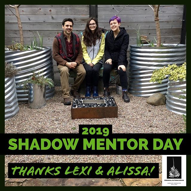 Thanks to Lexi and Alissa for joining me for 2019 Shadow Mentor Day! This is a great event put on annually by @aslaoregon @asla.uoregon that matches up landscape architecture students with practicing professionals. We toured a bunch of projects and dodged raindrops! ☔️ This is my 5th year participating: 2 times as a student and 3 times now as a pro. #uoshadowmentorday #shadowmentorday2019 #landscapedesign #designbuild