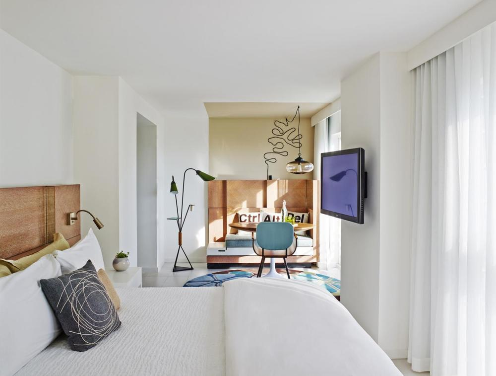 Guest rooms, crisp and stylish design.