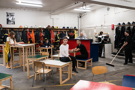 Nora Sternfeld, Isa Rosenberger and the Retired Firemen of Bergen THE MUSEUM OF BURNING QUESTIONS. The Partisan Café (at Bergen´s historic fire station) with Jenny Moore, Freja Bäckman, Kabir Carter, Tora Endestad Bjørkheim, Johnny Herbert, and Arne Skaug Olsen Educational and Performative Cafe Design: Isa Rosenberger in collaboration with Heidi Pretterhofer Bergen Assembly 2016 Photo: Thor