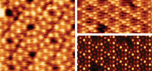 (1) 7 x 3.5 nm Atomic resolution topography of Si(111) using FM-AFM (Top). 14 × 7 nm Atomic resolution topography of Si(111)-(7×7) surface reconstruction using FM-AFM (Top Right). STM image acquired simultaneously with topography (Bottom Right). Images were obtained under UHV at 77 K with Adama 80 N/m Super Sharp probes.