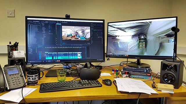 We're in the edit for our 360 Film on Advanced Medical Posts in Macedonia. Editing live with an #oculusrift is a game changer. . . #360 #360vr #360filming #360editing #oculus #goprovr #editing #postproduction #thefuture