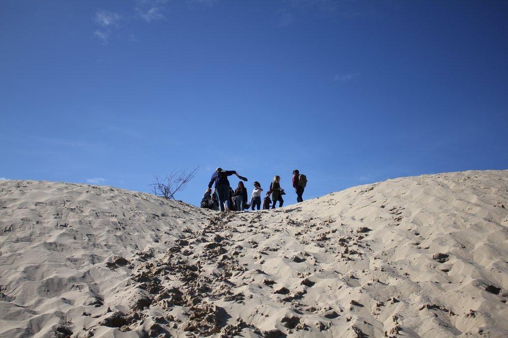 Climbing up the dunes