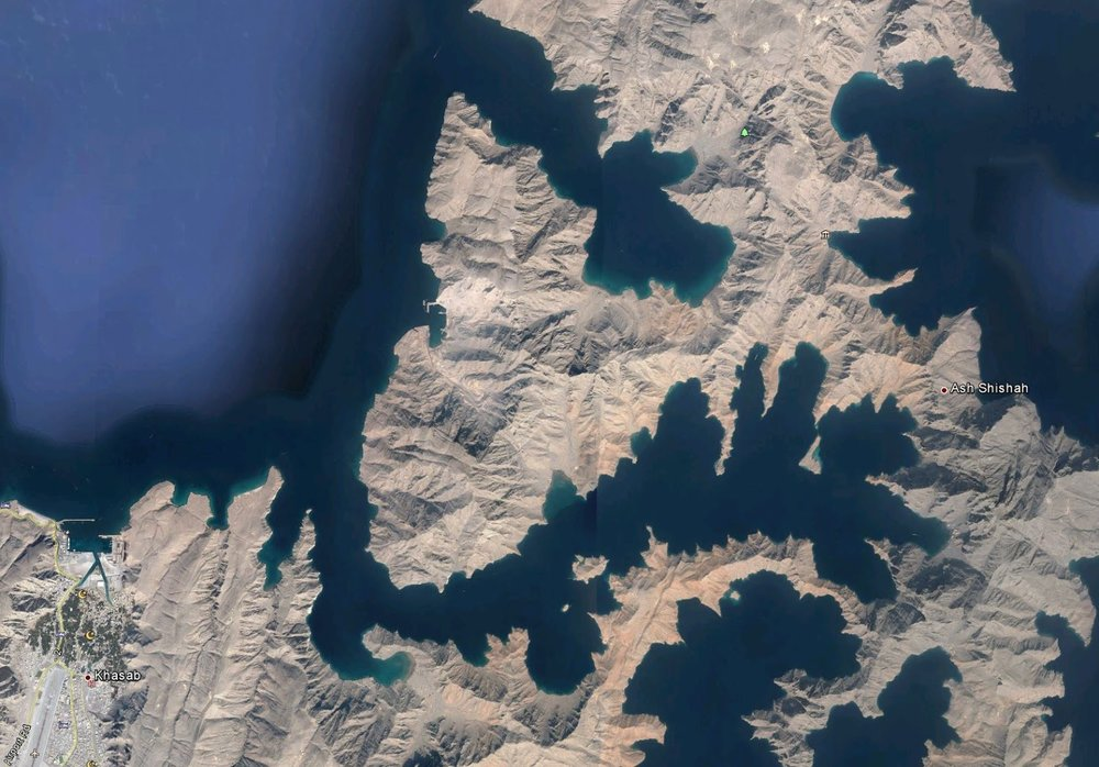 Satellite view of the Musandam fjords near Khasab (Northern Oman)
