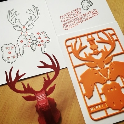 "Source: Thingiverse - ""Christmas Reindeer kit card"" by Tone001"
