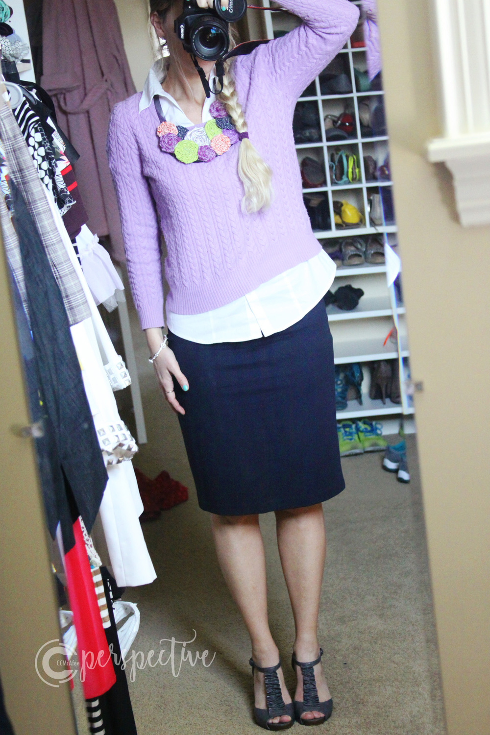 Sunday Look - navy skirt with layered lavender sweater, heels and bib necklace (that I made)