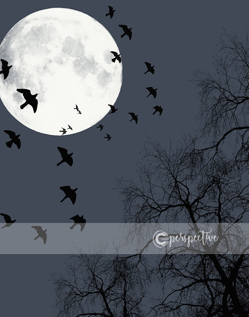 moon birds tree halloween printable