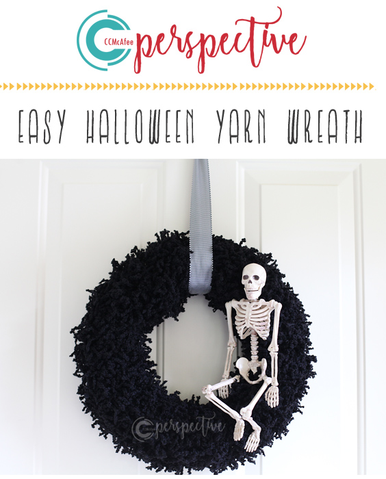 halloween wreath, diy wreath, yarn wreath, skeleton wreath