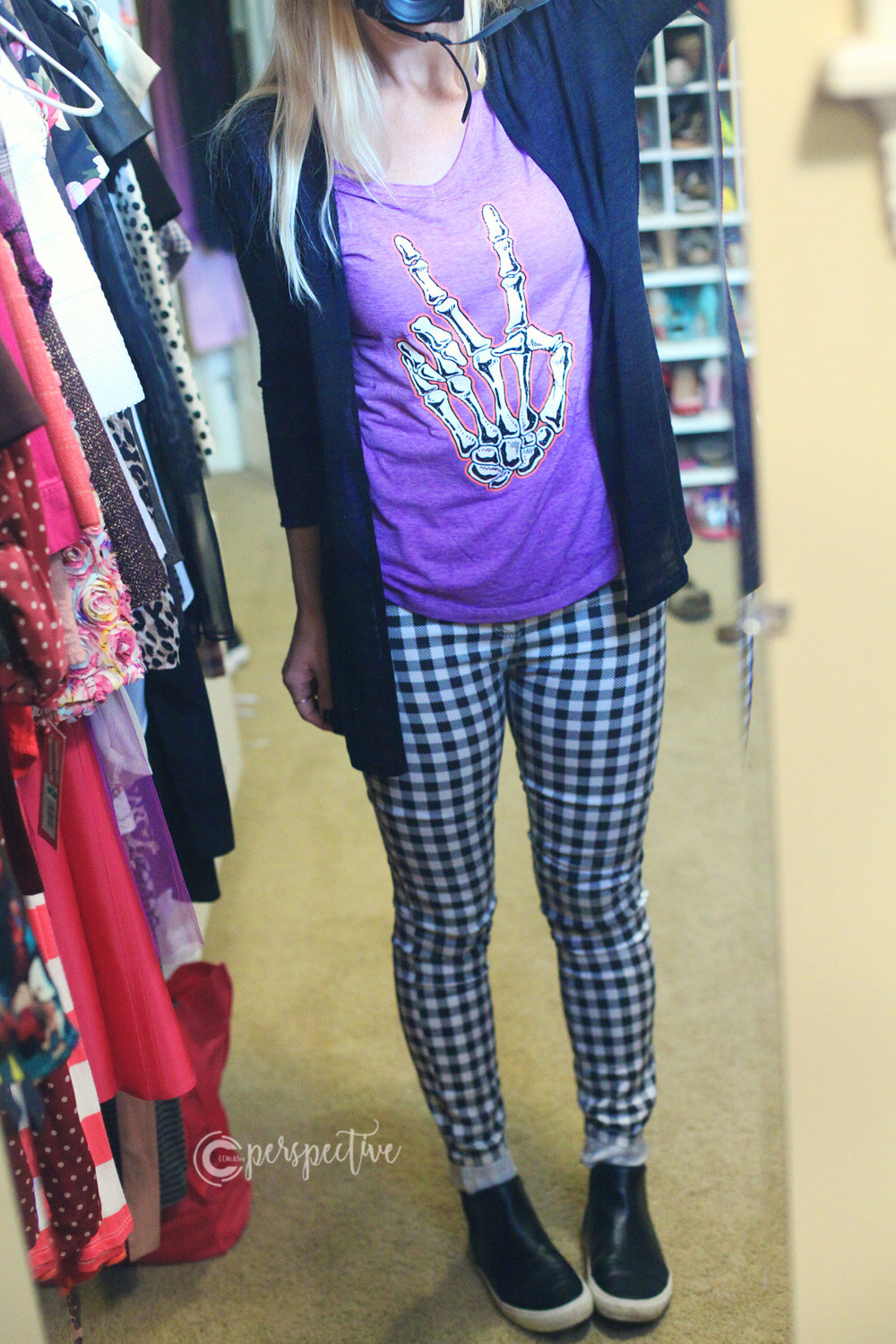 halloween, wearing, gingham pants, bones peace sign, purple shirt